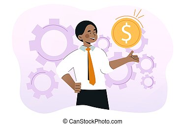 Young smiling businessman is holding gold coin