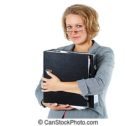 Young smiling businesswoman with folder