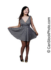 Chinese American Woman Standing In Black And White Dress