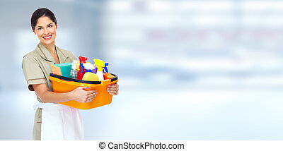 Young smiling cleaner woman. - Young smiling cleaner woman...