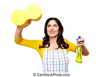 Young smiling cleaner woman. Isolated on white background.