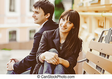 Young smiling couple in love outdoor