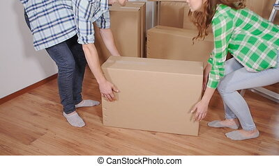 Young smiling couple moving in new home