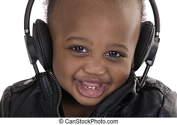 young smiling disk jockey - portrait of a smiling very young...
