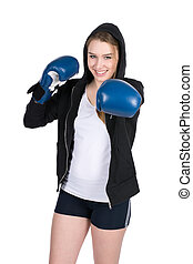 Young smiling female boxer
