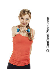 young smiling fitness woman exercising with a dumbbell on white background