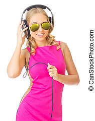 Young smiling girl with headphones