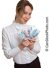 young smiling girl with money