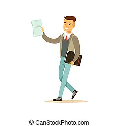 Young smiling male student in a gray jacket walking with black folder vector Illustration
