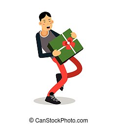 Young smiling man carrying a heavy green gift box cartoon character vector Illustration
