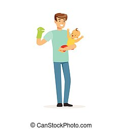 Young smiling man holding baby in his arms, house husband caring and upbringing of the child vector Illustration