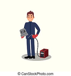 Young smiling man holding mask and torch of welding machine. Professional welder in working outfit. Flat vector design