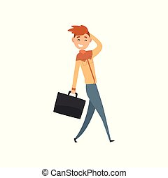 Young smiling man walking with suitcase cartoon vector Illustration on a white background