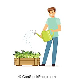 Young smiling man watering plants in wooden box, house husband working at home vector Illustration