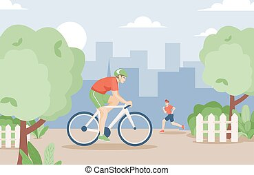 Young smiling men in sports clothes ride a bike and running in urban park in the summer vector flat illustration.