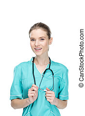 young smiling nurse with stethoscope looking at camera isolated on white