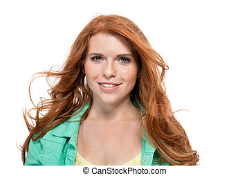 young smiling redhead woman portrait isolated expression - ...