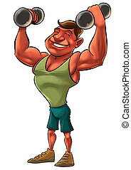 strong man - young smiling strong man lifting heavy...