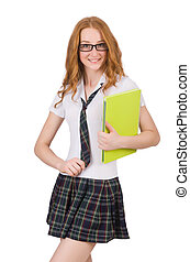 Young smiling student female isolated on white