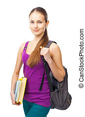 Young smiling student girl with folders and backpack