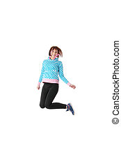 Young smiling teen girl jumping