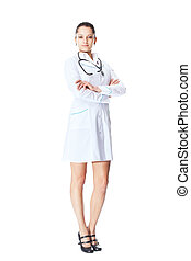 young smiling woman doctor isolated on white