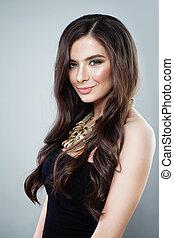 Young Smiling Woman Fashion Model, Portrait