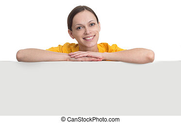 smiling woman hold white blank paper board