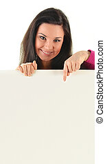 Young smiling woman holding a blank board isolated on white