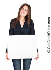 Young smiling woman holding a blank white board isolated on white