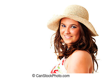 smiling woman in hat over white background