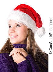 Young smiling woman in santa hat portrait