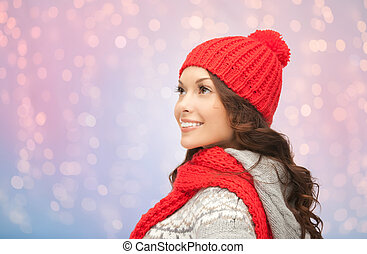 young smiling woman in winter clothes
