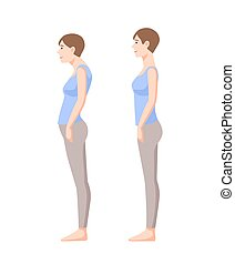 Young smiling woman standing in good and bad postures isolated on white background. Neutral spine, correct and incorrect poses. Side view. Colorful vector illustration in flat cartoon style.