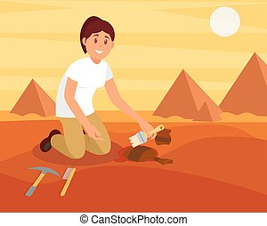 Young smiling woman sweeping dirt off old ceramic jug. Archaeologist working on excavation in sandy Egyptian desert. Flat vector design