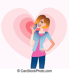 Young smiling woman talking on the phone that emits waves in the shape of a heart