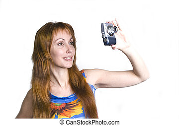 Young smiling woman with camera