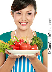 woman with fruits and vegetables - Young smiling woman with ...