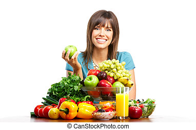 woman with fruits - Young smiling woman with fruits and ...