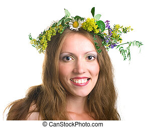 smiling women with floral wreath