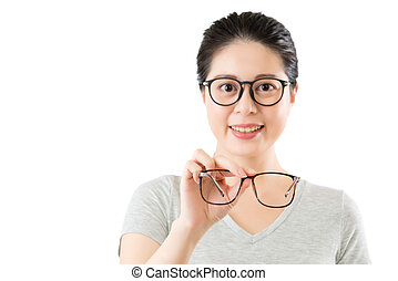 young smilling asian woman show new vision glasses