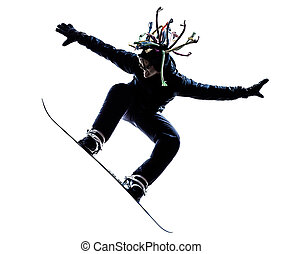 young snowboarder man silhouette - one caucasian young ...