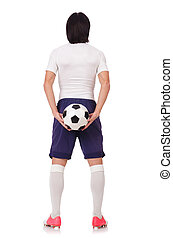 Young soccer football player on white