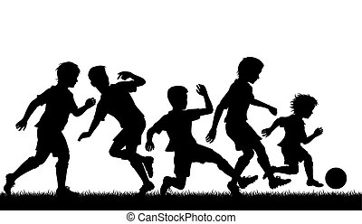 Young soccer talent - Editable vector silhouette of a young...