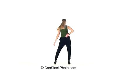 Young, Beautiful, young girl social latin dancer continue dancing, on white background, slow motion