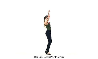 Young, Beautiful, young girl social latin dancer continue moving, on white background, slow motion