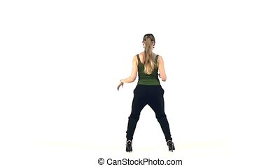 Young, Beautiful, young girl, woman social latin dancer continue moving dancing, on white background, slow motion