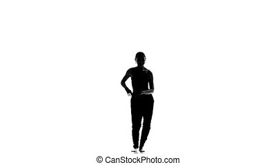 Young, Beautiful, young girl social latina dancer continue dancing, on white background, slow motion, silhouette