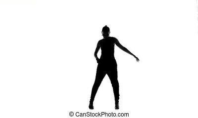 Young, Beautiful, young woman social latina dancer continue dancing, on white background, silhouette