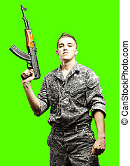 young soldier isolated